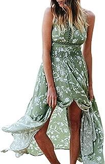 Women's Chic Sleeveless Backless Halter Floral Print Split Maxi Dress