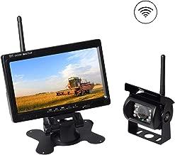 AKK Upgraded Wireless Rear View Camera with 7'' LCD Wireless Reversing Monitor Display for Waste Truck, Crane, Bulldozer, Combine, Cotton Picker, Tractor, Excavator, Snow plow, Wireless Backup Camera