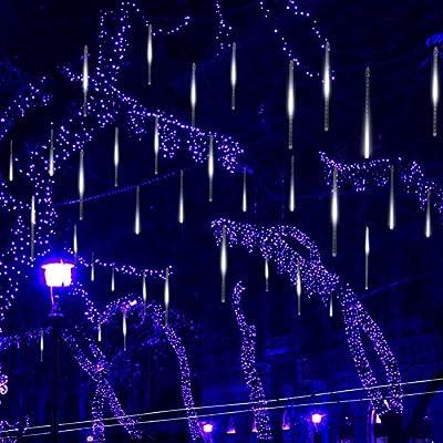 Falling Rain Lights,Kellegour Led Meteor Shower Rain Lights 8 Tubes 136 LED(11.8 inch/Tube) Icicle Rain Drop Lights Christmas Lights for Christmas Tree Decoration Wedding Party Holiday (White)