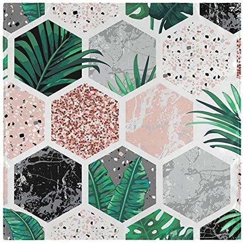 Juego de 6 servilletas de tela de hojas tropicales con formas geométricas de mármol, servilletas de poliéster lavables para cenar, servilletas de mesa suaves y reutilizables para el hogar, Navidad