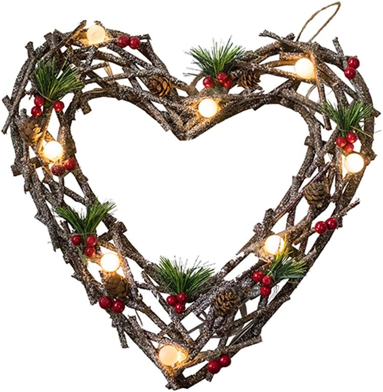 Herzgeformter Twig & Grüner Weihnachtskranz, Pine Cones und Berry mit LED-Lichtquelle, Batterie betrieben (Batterie Nicht Inbegriffen, Sparkling Winter)
