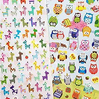 pulabo 2Pcs Cute Giraffe and Owl Drawing Sticker Transparent Diary Scrapbooking Calendar Album Deco Sticker SuperiorQuality and Creative Convenient