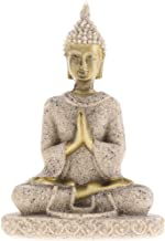 Prettyia 3Pcs Sand Stone Maitreya Buddha Statue Home Decor Sculptures - Good Luck and Happiness