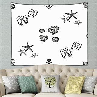 JANICEAI Hand Drawn Black White Sketched Flipflop Starfish Tapestry Bohemian Wall Hanging, Psychedelic Wall Art, Dorm Décor, Wall Tapestries Art