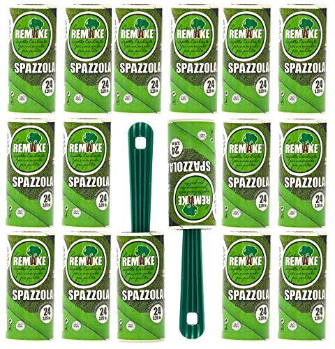 remake Fusselrolle 16 Rollen mit 2 Abroller (95% recyceltes Material. 24 Lagen) Lagen Easy-Peel. Geeignet für Haare, Staub, Kleidung, Tierhare. 100% Klebstoff. Made in Italy