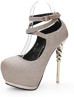 Ying-xinguang Shoes Fashion Pointed Thin Cross Straps Waterproof Platform Women's Shoe s Women's High-Heeled Comfortable