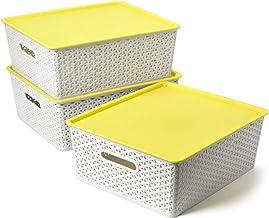 EZOWare Set of 3 X-Large Weaved Plastic Basket Bins with Lids, Storage Organiser Box 42 x 36 x 16cm for Living Room, Offic...