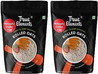 True Elements Oats 2kg (1kg * 2) - Gluten Free Rolled Oats, Breakfast Cereal, Whole Oats, Plain Oats for Weight Loss