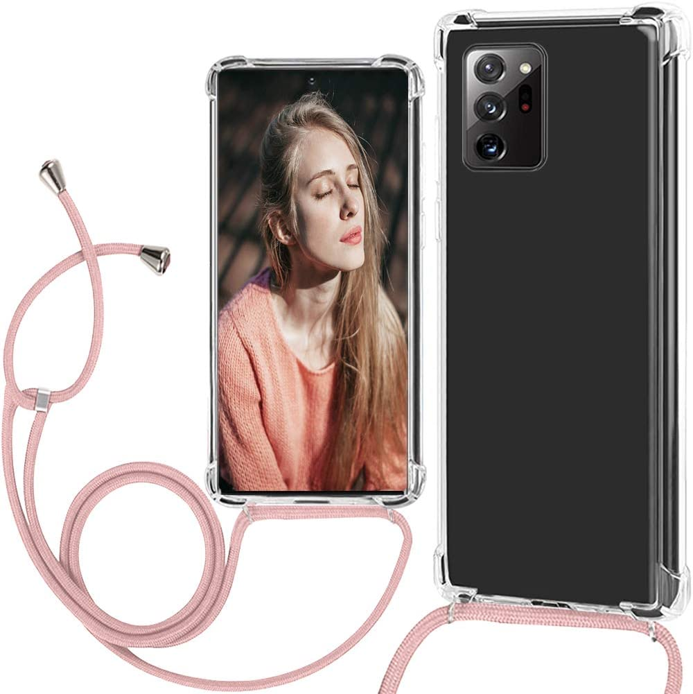 Note 20 5G Phone Case Lanyard Crossbody Compatible with Samsung Galaxy Note 20 5G Cases Clear Transparent TPU Phone Case Tether Safety Strap Cell Phone Cover with Cord Nylon Neck Strap