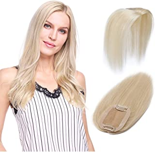 100% Remy Human Hair Silk Base Top Hairpieces Replacement Clip in Topper For Women Crown Top Piece Short 10''/10inch #60 Platinum Blonde 20g