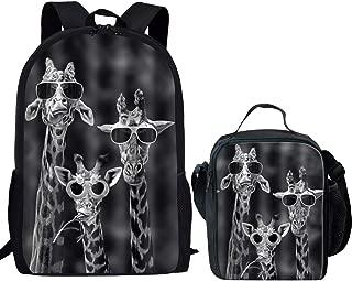 Dzulife Cool Funky School Backpack Teen Kids Rucksack Giraffe Animal School Bags Bagpacks for Boys Girls Set with Children Lunch Bag