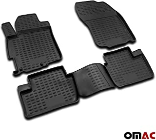OMAC USA Complete Set Custom Fit All-Weather 3D Molded Black Rubber Floor Mat for Mitsubishi Lancer X DE ES GTS EVO 2008-2017