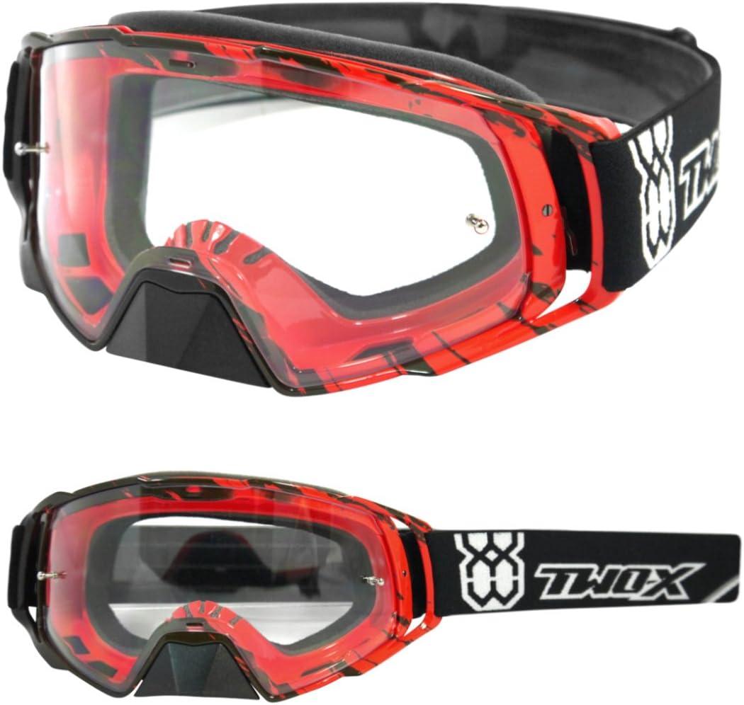 Two X Rocket Crossbrille Crush Schwarz Rot Klar Mx Brille Motocross Enduro Klarglas Motorradbrille Schutzbrille Mit Nasenschutz Anti Scratch Fast Change Auto