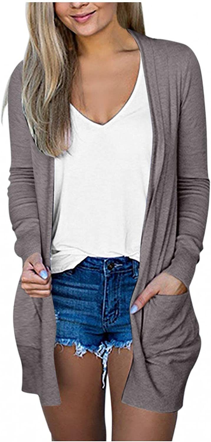 Womens Open Front Cardigan Sweaters Pockets Long Sleeve Shrugs