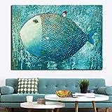 N / A Pintura sin Marco Arte Marino de Peces Marinos en Lienzo y póster Pared Sala de Estar decoración del hogarZGQ9007 20x30cm