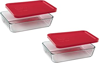 Pyrex 3-Cup Rectangle Food Storage, Pack of 2 Containers, Box of 2, Clear, Red Cover