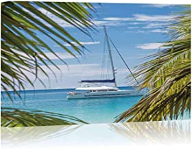Catamaran Sailing Boat seen Trough Palm Tree Leaves on Beach Canvas Art Wall Decor,042930 Painting Wall Art Picture Print on Canvas,36
