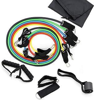 11 Pcs/Set Latex Resistance Bands Stretch Workout Fitness Set Bodybuilding Elastic Pull Rope Full Body Waist Arm Leg Stren...