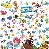 4 hojas Oceánico Submarino Calcomanías de Pared de Pez de Mar Pegatinas de Para Pared Extraíbles de Océano Pegatinas de Animales Marinos de Acuarela para Niños Baño Dormitorio Sala de Juego