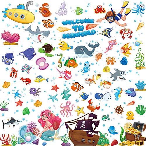 Ocean Fish Wandtattoos Unterwasser Wandaufkleber Abnehmbare Ozean Wandtattoos Aquarell Ozean Tier Aufkleber für Kinder Badezimmer Schlafzimmer Spielzimmer Dekoration