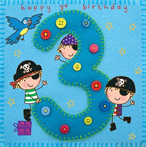 Twizler Geburtstagskarte für Jungen, Motiv: Pirat mit Papagei, für den 3. Geburtstag, Alter: 3 Jahre, Geburtstagskarte für Kinder, Geburtstagskarte für Jungen