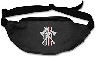 Red Line Firefighter Axe Cross Sport Waist Bag Fanny Pack Adjustable For Run