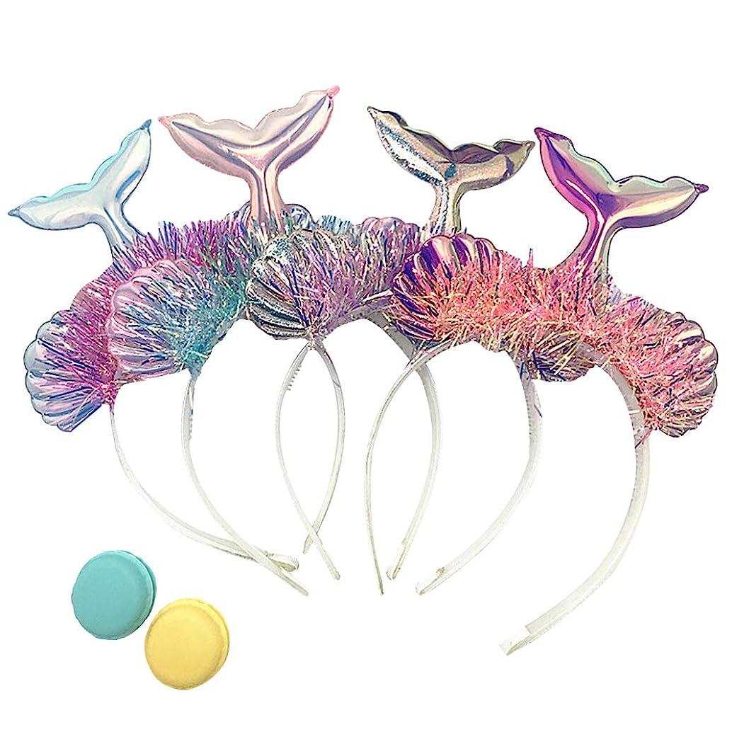 Amosfun 4pcs Glitter Mermaid Tail sea Shell Headband Hairband Tiara Crown Mermaid Costume Mermaid Themed Birthday Party Favors Gifts (Silver/Pink/Blue/Purple)