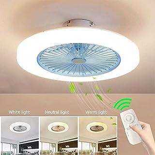 JINWELL - Ventilador de techo LED creativo, moderno con mando a distancia silencioso, lámpara de habitación de niños, salón, plafón, ventilador en luces e iluminación