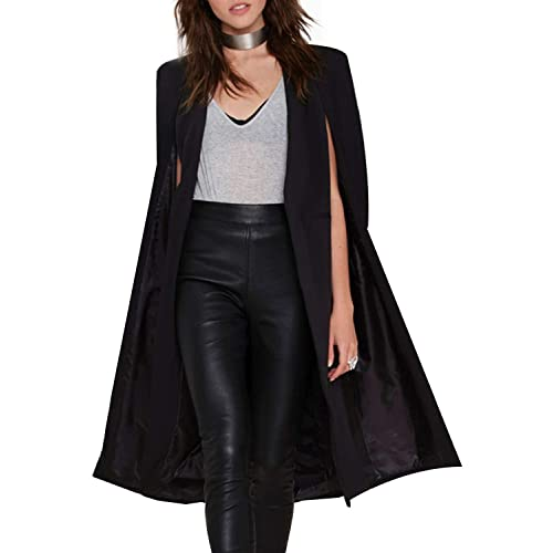 481e0386a6a HaoDuoYi Women Casual Open Front Cape Trench Duster Coat Longline Blazer
