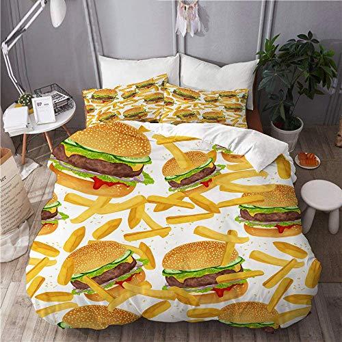 788 Bettwäsche Set,Mikrofaser,Hamburger Pommes Bettwäsche 3D Giant Burger 3 Stück Spaß Fast Food Kreative Tagesdecken,1 Bettbezug 135x200 + 2 Kopfkissenbezug