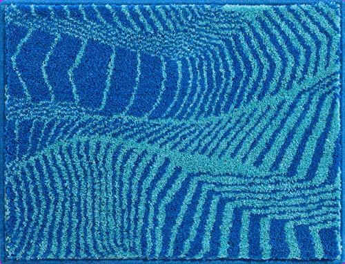 Grund KARIM RASHID Exklusiver Designer Badteppich 100% Polyacryl, ultra soft, rutschfest, ÖKO-TEX-zertifiziert, 5 Jahre Garantie, KARIM 13, WC-Vorlage o.A. 50x65 cm, blau-türkis