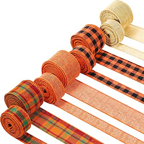 8 Rolls 40 Yards Fall Plaid Ribbon Thanksgiving Wired Edge Ribbon Wired Wrapping Craft Ribbon Multi-Color Plaid Ribbon for Fall Thanksgiving Floral DIY Craft Wreath, 2 Inch, 1 Inch (Classic Colors)