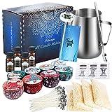 Kit de Fabrication de Bougies de Cire Bricolage,DIY Bougies, 50 mèches de Bougie,1 Pot de Fabrication,8 boîtes de Pots,56 Autocollants de mèche et 2 Supports