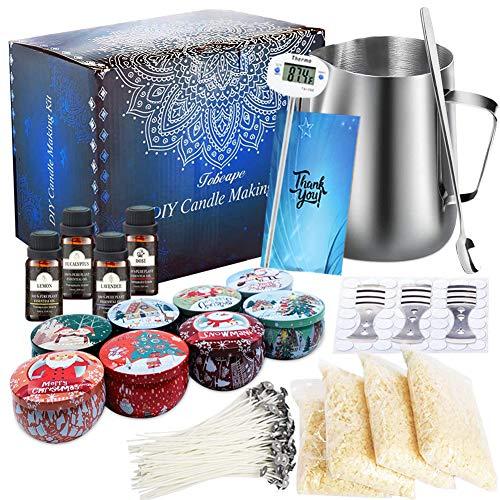 Kerzenherstellungs-Set, Bastelwerkzeug für Kerzen, einschließlich Kerzendochte, Dochte Aufkleber, 2-Loch-Kerzenhalter, Bienenwachs, Kerzen und Löffel
