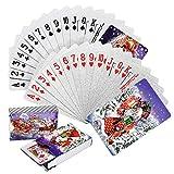 Joyoldelf 2 Stück Spielkarten, Wasserfeste Pokerkarten mit Geschenkbox,Familienparty Spiel Playing Cards (Weihnachten Pokerkarten) -