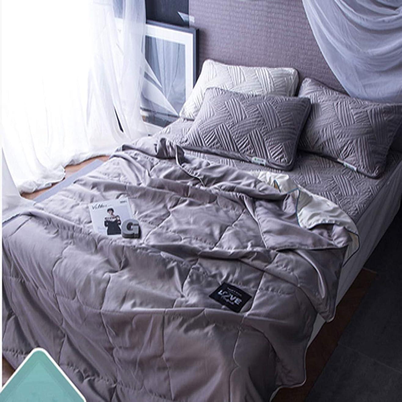 機会十分にクラッチLonglong ミントと夏の涼しい薄いキルト毛布で洗われるエアコンキルト 敷布団 枕 掛け布団カバー ボックスシーツ (色 : グレー, サイズ : 180*220CM)