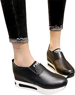 Zapatillas De Deporte Para Mujer De PU Casual Cómodo Calzado De Suela Gruesa De Señora De Moda Breathable Plataforma De Cu...