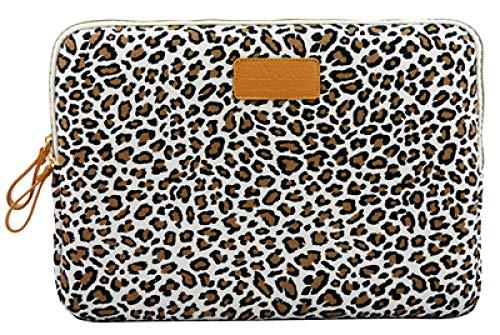 Yinghao Leinwand wasserdichte Laptop-Tasche für MacBook Air Pro 13 15 Zoll für Tablet 8 10 1 1 12 13 14 15 Zoll Laptop-Hülle-weißer Leopard_12 Zoll