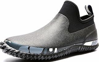 GILKUO Men's Wellington Boots Short Wellies Neoprene Rubber Rain Boots