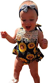 d65255b4a Tronet Cute Onesies for Babies Toddler Baby Girls Floral Sunflower Printed  Tassel Tops Bodysuit Romper Clothes