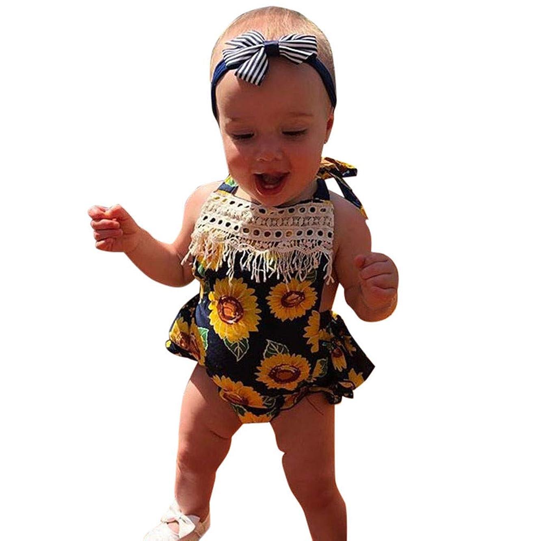 Riverdalin Toddler Baby Girls Sleeveless Romper Summer Sunflower Print Ruffle Tassel Backless One-Pieces Jumpsuit