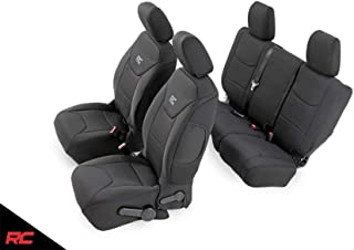 Rough Country 91002A Neoprene Seat Covers Black Front/Rear Compatible w 2008-2010 Jeep Wrangler JK 4DR