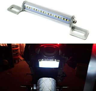 iJDMTOY Xenon White LED License Plate Frame Light Universal Fit For Motorcycles Suzuki Harley Honda Kawasaki Yamaha etc, Angle Adjustable License Lamp Powered by (18) High Power SMD LED Emitters