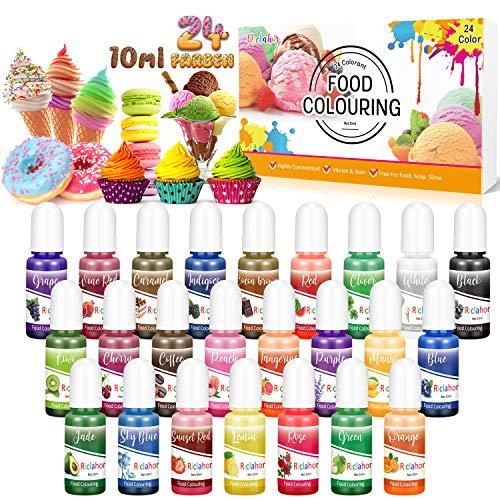 Seifenfarbe Set 24er x 10ml - Lebensmittelfarbe Flüssig, Hautverträgliche, Regenbogen Flüssigseife für Seifenherstellung, DIY Badebomben, Seifen Machen, Schleim, Kunsthandwerk, Epoxidharz Farbe