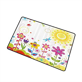 Axbkl Fashion Door mat Floral Summer Season Sun Butterflies Dragonfly Flowers Happiness Nursery Kids Spring Theme W24 xL35 Non-Slip Door mat pad Machine can be Washed Multicolor
