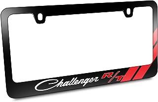 iPick Image for - Dodge Challenger R/T Classic Red Stripe Black Metal License Plate Frame
