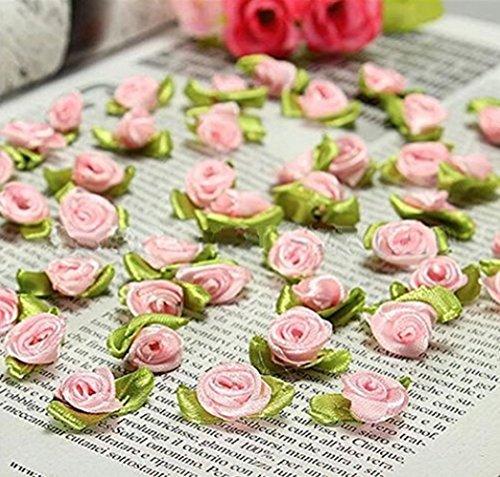 Ddfly 100 Stück Mini-Schleifen-Rosen, Blumen, Schleife, Nähen, Basteln, künstliche Ornamente, künstliche Blumen rose