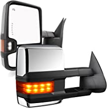 YITAMOTOR Compatible for GMC Sierra Chrome Power Heated LED Arrow Signals Backup Lights Tow Mirrors, for 2003-2007 Chevy Silverado GMC Sierra, 2003-2006 Cadillac Escalade All Model