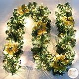 Queta Adornos Guirnalda de Navidad, Guirnalda de Abeto Decoración Navideña con Flores Lámparas Hermosas Decoración Navideña para Escaleras, Paredes, Puertas 2.7m (Dorado)