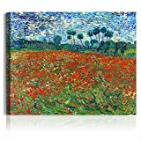 A&T ARTWORK Poppy Field Floral Vintage by Vincent Van Gogh. The World Classic Art Reproductions, Giclee Canvas Prints Wall Art for Home Decor,24x30 inches